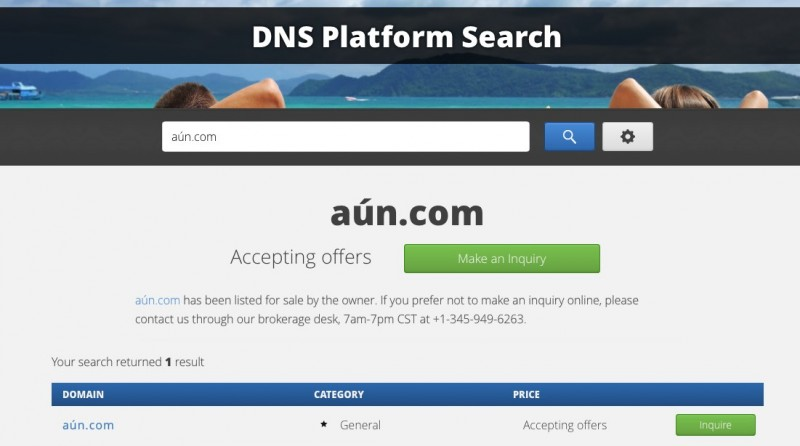 Aun.com Listing in Domain Name Sales